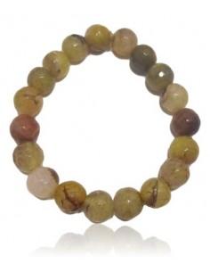 Bracelet agate verte kaki pierres boules 10 mm