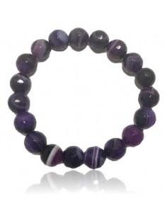 Bracelet agate violet pierres boules facettées 10 mm