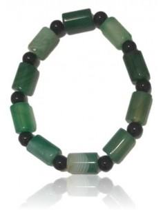 Bracelet agate verte pierres tubes cubiques