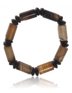 Bracelet agate marron deux perles separées par tubes