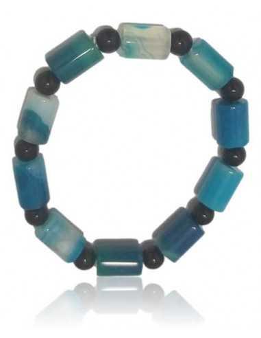 Bracelet agate bleue pierres tubes cubiques