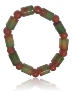 Bracelet agate perles cubiques tons vert / marron