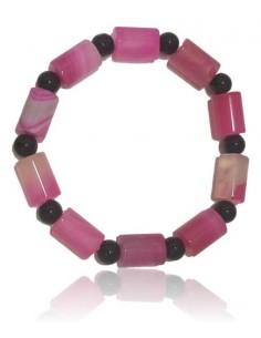 Bracelet agate rose pierres tubes cubiques