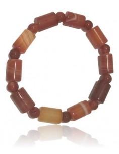 Bracelet agate perles cubiques marron