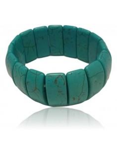 Bracelet pierre turquoise de synthèse manchette carré large