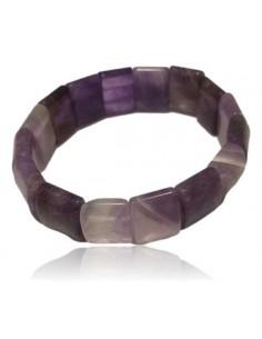 Bracelet améthyste pierres carrées larges