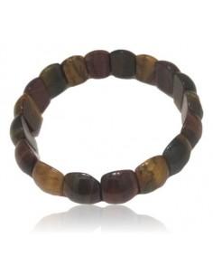 Bracelet pierres oeil de tigre/boeuf/faucon boules bombées