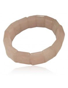 Bracelet quartz rose pierres moulées carrées larges