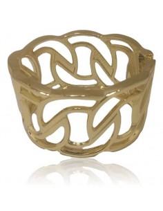 Bracelet manchette métal rigide large motifs géométriques