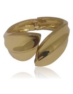 Bracelet manchette feuilles métal large ouvert