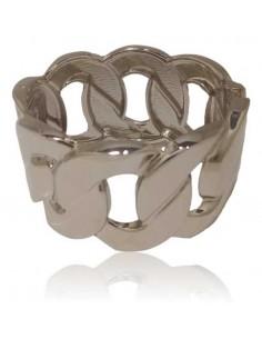 Bracelet manchette large rigide grosse maille