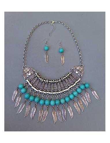 Parure collier ethnique perles turquoises et boucles 24 cm