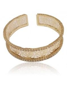 Bracelet fantaisie manchette motifs roses filigranes