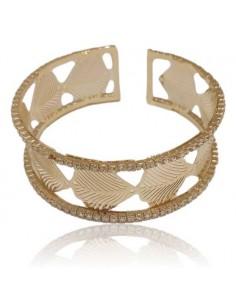 Bracelet manchette feuilles incurvées motif filigranes