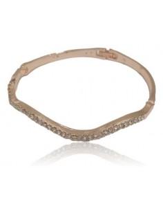 Bracelet jonc gold rose difforme oxydes de zirconium 2 rangées