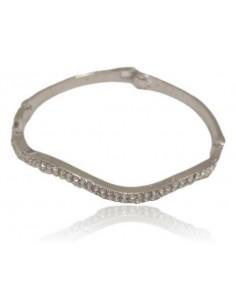 Bracelet jonc difforme oxydes de zirconium 2 rangées