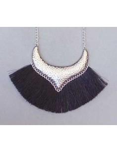 Collier franges à fil noir style ethnique 56 cm