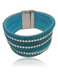 Bracelet multirang cuir facetté divers coloris