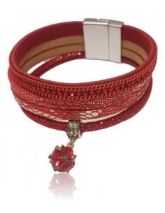 Bracelet multirang cuir avec charm cristal