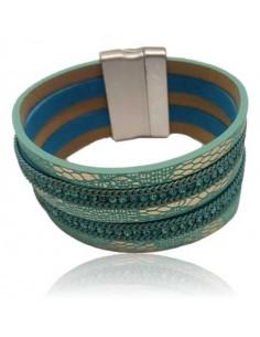 Bracelet manchette cuir multirangs fantaisie