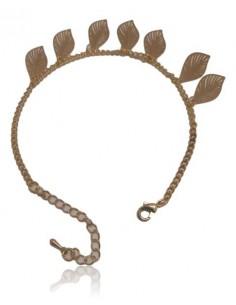 Bracelet fantaisie feuilles incurvées filigranes