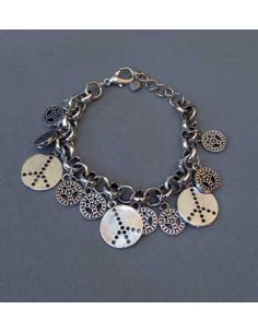 Bracelet fantaisie hippie avec pampilles 16 cm