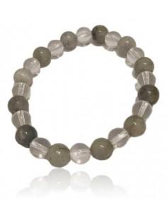 Bracelet labradorite & cristal de roche pierres boules 8 mm