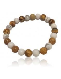 Bracelet jaspe paysage & howlite blanche pierres boules 8 mm