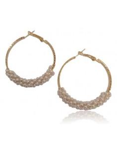 Créoles dorées perlées