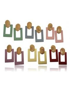 12 paires de boucles d'oreilles créoles rectangles tons pastels