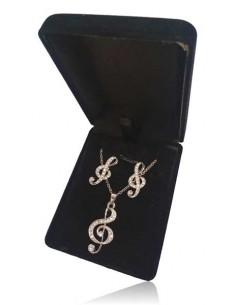 Parure en coffret collier pendentif clé de sol avec boucles