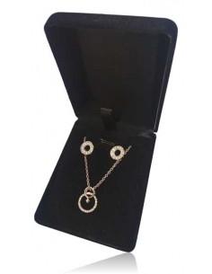 Parure en coffret collier pendentif anneau signe féminin et boucles