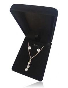 Parure en coffret collier pendentif ligne de petits coeurs et boucles