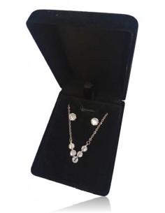 Parure en coffret collier pendentif V serti et boucles
