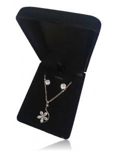 Parure en coffret collier pendentif pétales de fleurs zircon et boucles