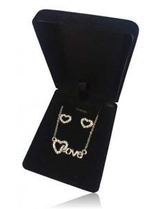 Parure en coffret collier pendentif coeur inscription Love et boucles