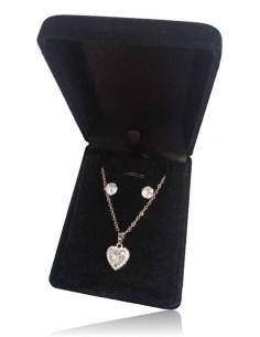 Parure coffret collier pendentif coeur strass & zircon et boucles