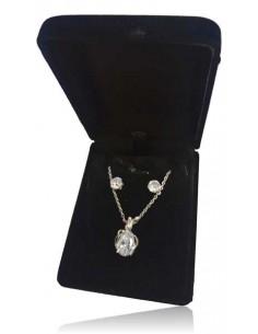 Parure coffret collier pendentif fleur de lys et zirconium avec boucles