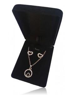 Parure coffret collier pendentif anneau coeur inversé avec boucles