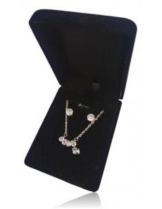 Parure coffret collier pendentif ligne de strass et petit coeur avec boucles