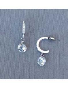 Boucles d'oreilles demi-créoles oxydes de zirconium 2.5 cm