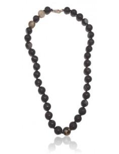 Collier pierre agate noir boules 10 mm