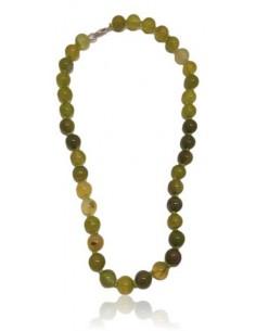 Collier agate vert clair pierres boules 10 mm