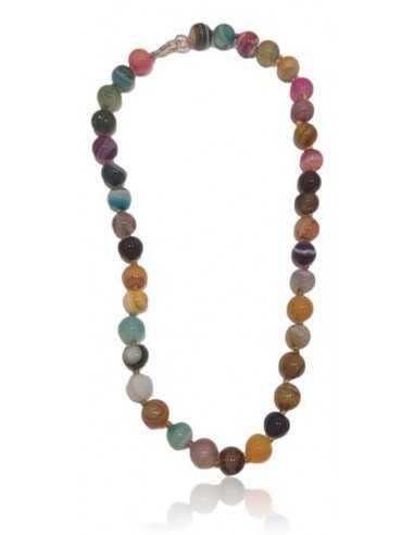 Collier agate multicolores pierres boules 10 mm