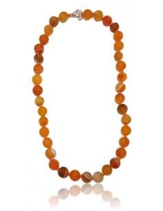 Collier agate orange pierres boules 10 mm