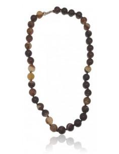 Collier agate marron foncé pierres boules 10 mm