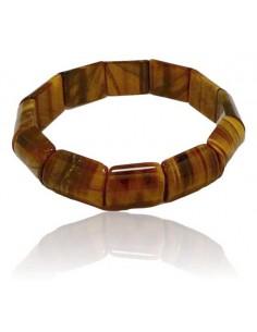 Bracelet oeil de tigre pierres rectangles bombées