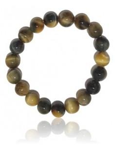 Bracelet pierre oeil de tigre noire boules 10 mm