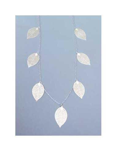 Collier sautoir fantaisie avec feuilles filigranes - 90 cm