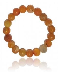 Bracelet agate orange pierres boules 10 mm